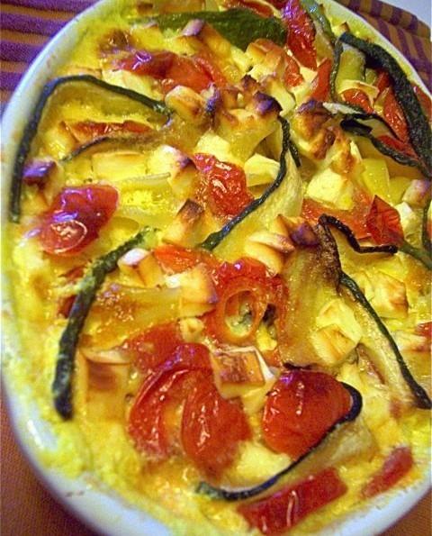 Запеканка из макарон с овощами в сырно–сливочном соусе