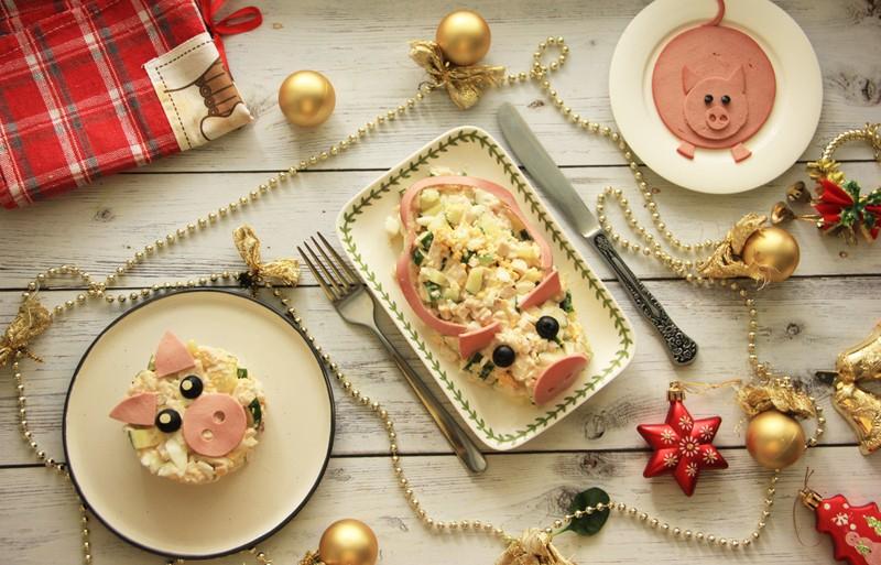 Cалат в виде свиньи и другие новогодние идеи