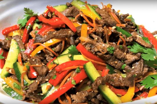 Салат. Огурцы по - корейски с мясом